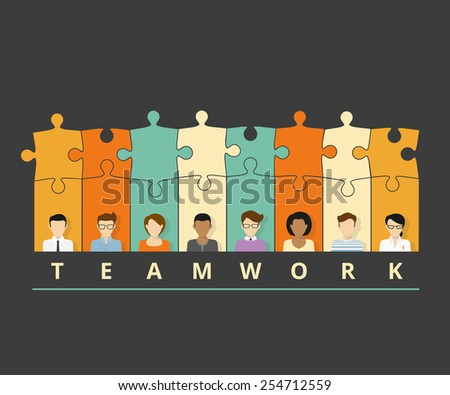 illustration of project team with puzzles. Flat avatars