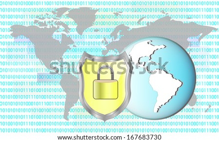 Illustration of protection cyber crime. Lock with earth. Elements of this image are furnished by NASA - stock photo