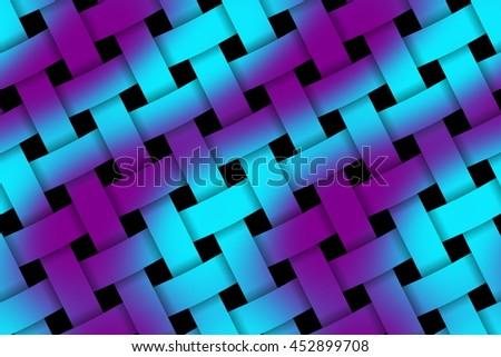 Illustration of purple and cyan weaved pattern - stock photo