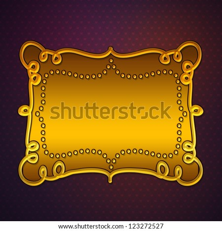 Illustration of purple hears pattern background with gold plate.