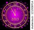 Illustration of purple 2013 New Year clock - stock photo