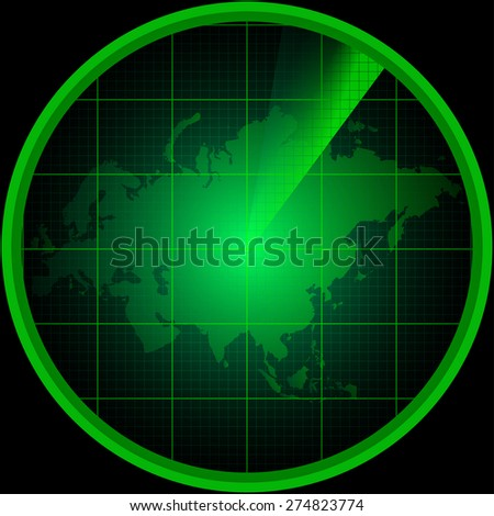 Illustration of radar screen with a silhouette of Eurasia - stock photo