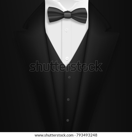 Illustration of Realistic Black Suit. Photorealistic Mens Elegant Tuxedo Suit with Bow Tie