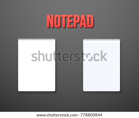 Illustration of Realistic Blank TextBook Icon. Notepad Template