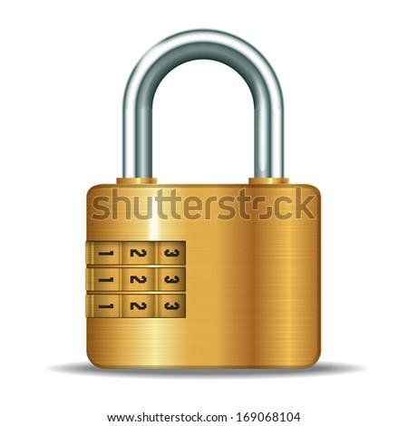 illustration of realistic closed padlocks with code - stock photo