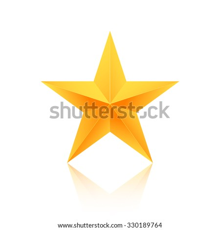 Illustration of Realistic Isolated Gold Star with Reflection Icon