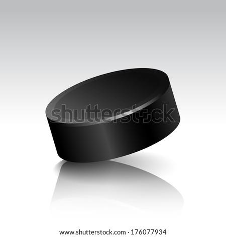 Illustration of Realistic Isolated Hockey Puck Isolated on White Background - stock photo