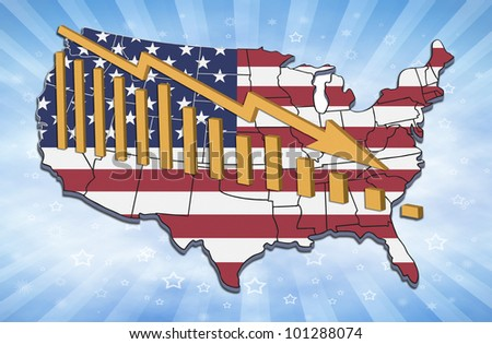 Illustration of recession and declining trends in USA. - stock photo
