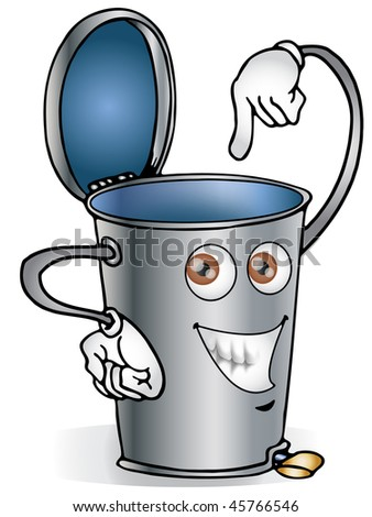 Illustration of recycle bin made of steel - stock photo