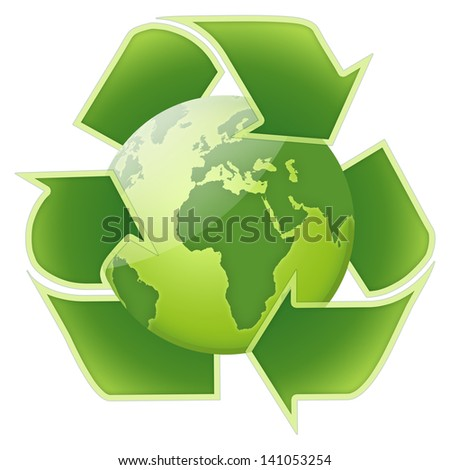 Illustration of recycle globe on white background - stock photo