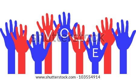 illustration of red and blue raised hands with voting message - stock photo