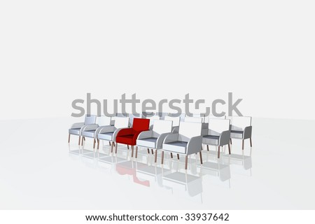 illustration of red and one white chairs isolated on white background