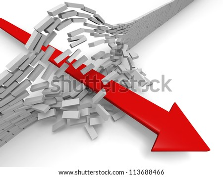Illustration of red arrow breaking through brick wall, concept of success, breakthrough, achievement