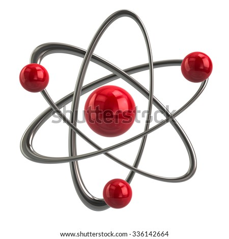Illustration of red atom icon - stock photo
