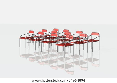illustration of red chairs isolated on white
