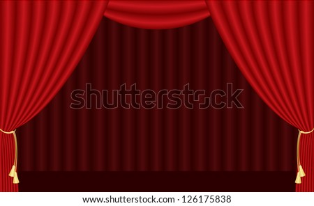 illustration of red curtain - stock photo