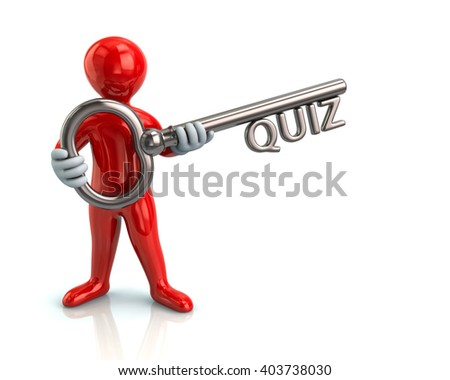 Illustration of red man and silver key with quiz - stock photo