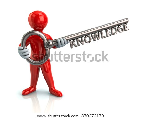 Illustration of red man and silver key with word knowledge - stock photo