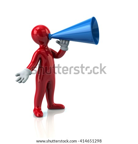 Illustration of red man with a megaphone isolated on white background
