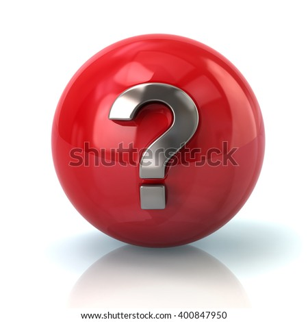 Illustration of red sphere with silver question mark isolated on white background - stock photo