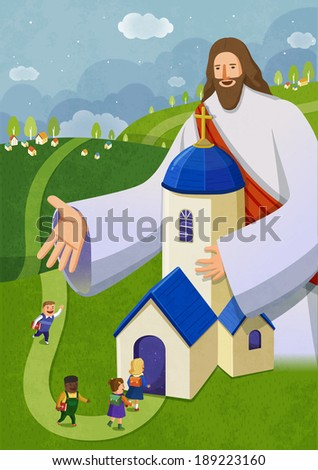 Illustration of religion and giant jesus