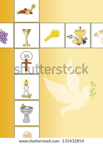 illustration of religion background with dove - stock photo