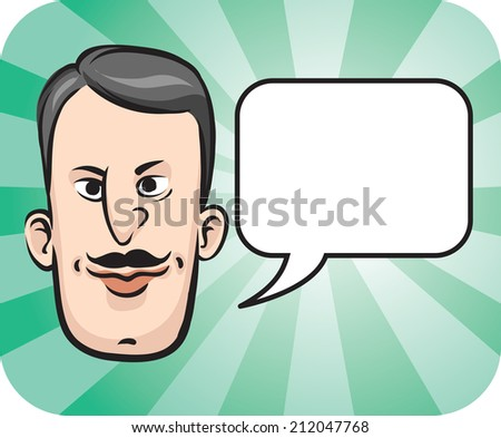 illustration of Retro man face with speech bubble - stock photo
