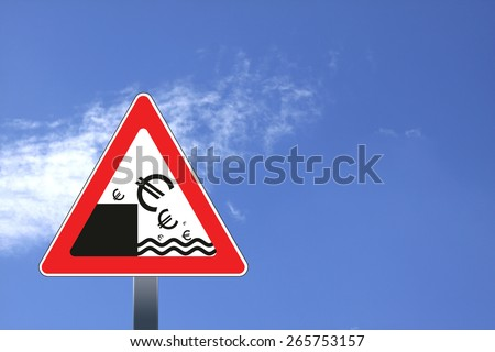 Illustration of road sign with euro currency decline concept