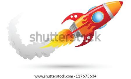 Illustration of Rocket flying - stock photo