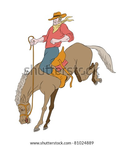 illustration of rodeo cowboy riding bucking horse bronco on isolated white background cartoon style