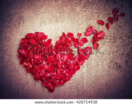 Illustration of rose petals arranged in shape of a broken heart. Breakup concept, separation and divorce icon. Symbol of medical cardiovascular health - stock photo