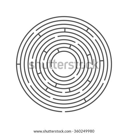 Illustration of round maze / labyrinth on white background.  - stock photo