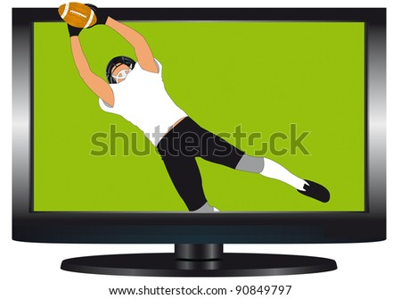 Illustration of rugby on television