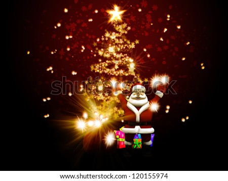 Illustration of Santa Claus congratulate against christmas tree of stars. - stock photo