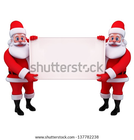 illustration of santa claus with big sign