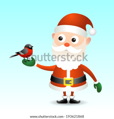 Illustration of Santa Claus with bullfinch for your design.