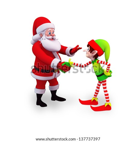 illustration of santa claus with elves