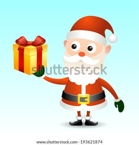 Illustration of Santa Claus with gift box for your design.