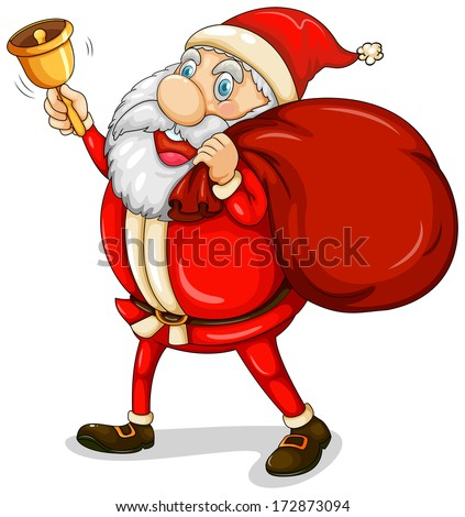 Illustration of Santa Claus with his sack full of gifts on a white background