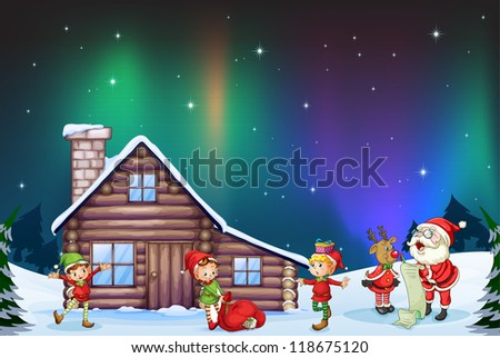 illustration of santa clause, kids and reindeer in nature - stock photo