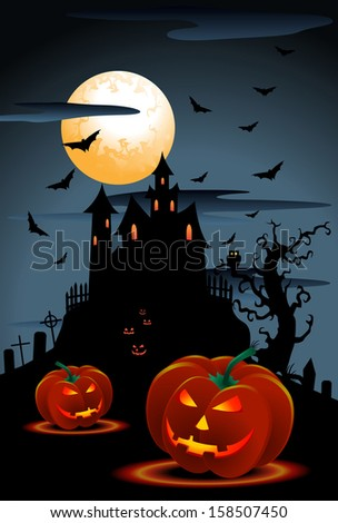 illustration of scary pumpkins halloween background with moon and hideous bat - stock photo