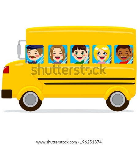 Illustration of school bus with cute happy kids and driver - stock photo