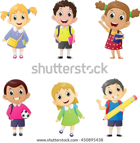 illustration of school kids in education concept.