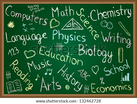 Illustration of school subjects and doodles drawn on chalkboard - stock photo