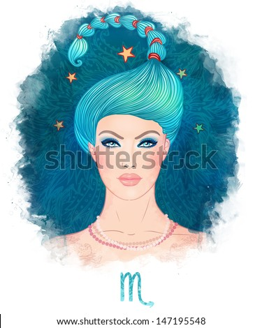 Illustration of Scorpio zodiac sign as a beautiful girl. Watecolor illustration. Isolated on white.  - stock photo
