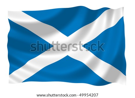 Illustration of Scotland flag waving in the wind - stock photo