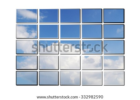 illustration of screens with sky