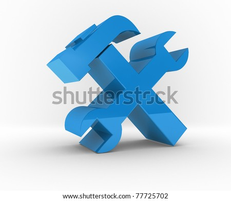 illustration of screwdriver with spanner with isolated background - stock photo