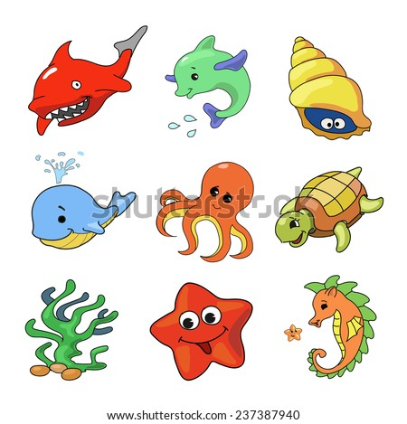 illustration  of Sea Animals Collection isolated - stock photo