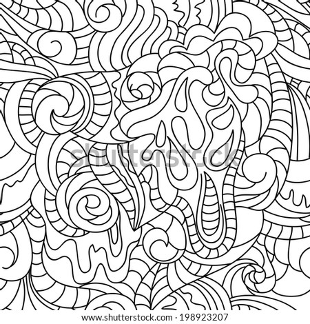 Illustration of seamless abstract pattern. White and black background. Hand drawing work